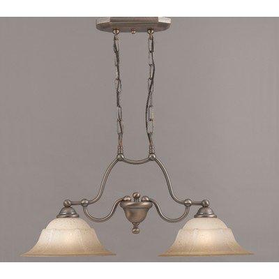Providence 2 Light Island-Billiard Light Glass Color: Tuscan Cream, Finish: Rustic Bronze