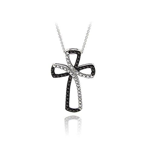 Glitzs Jewels Silver Tone Over Brass Black Simulated Diamond Accent Cross Ribbon Necklace, 18''