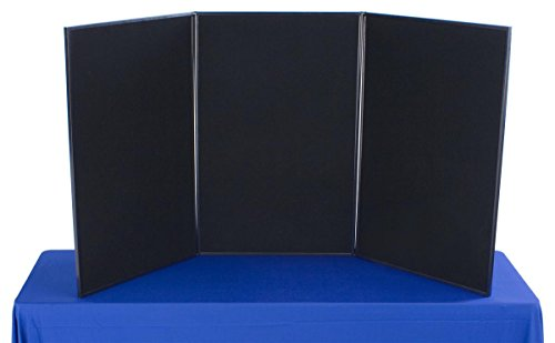 (Displays2go 3-Panel Tabletop Exhibition Board, 72 x 36 Inches Velcro-Receptive Fabric, Black and Gray (3P7236BKGR))