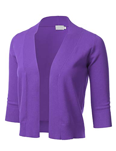 Womens Classic 3/4 Sleeve Open Front Cropped Cardigan Ultraviolet M