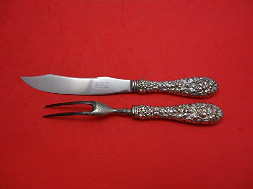 (Rose by Stieff Sterling Silver Steak Carving Set 2pc (Fork 8