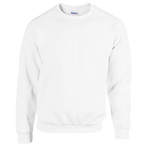 (Gildan Heavy Blend Crew Neck Sweatshirt (G180B) White, M)