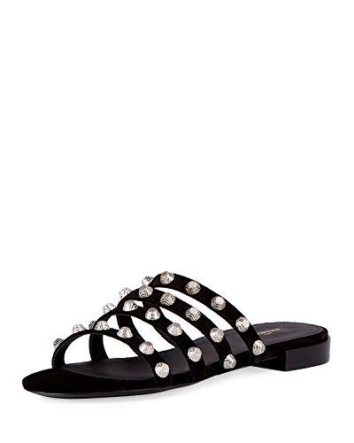 Balenciaga Studded Suede Slide Flat Sandal, Noir/Silver 40