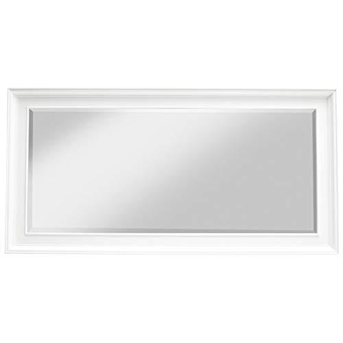 NovaSolo Halifax Pure White Mahogany Wood Large Grand Mirror Bevelled -