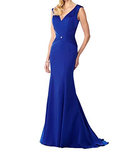 Ballkleider Satin Kleider Abendkleider Lang V Damen Meerjungfrau Charmant Blau Royal Damen Ausschnitt Brautmutterkleider Elegant PYWfp
