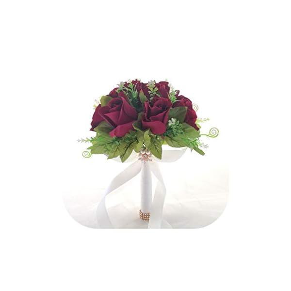 for Wedding Bouquet Artificial Flowers Bridal Bouquets Bridesmaids Bride White Roses Marriage Wedding Bouquet Home Decoration,Purple Red