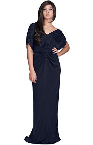(KOH KOH Womens Long Short Sleeve Grecian Goddess Evening Modest Bridesmaid Formal Sexy Wedding Party Guest Flowy Cute Maternity Gown Gowns Maxi Dress Dresses, Dark Navy Blue L 12-14)