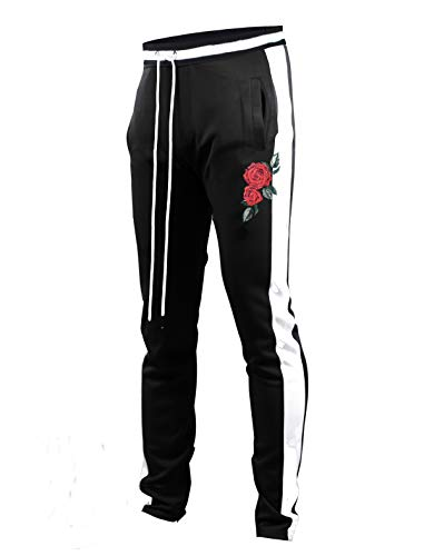 SCREENSHOTBRAND-P11853 Mens Hip Hop Premium Slim Fit Track Pants - Athletic Jogger Rose Embroidery Bottom with Taping-BK/WH-Medium