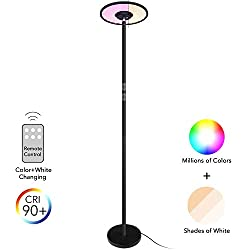 AntLux Dimmable LED Torchiere Floor Lamp - 24W, 200W Equivalent - Color Changing Remote Control Reading Uplight for Bedroom, Dorm, Living Room, Office, 90° Adjustable Top Tall Standing Pole Light