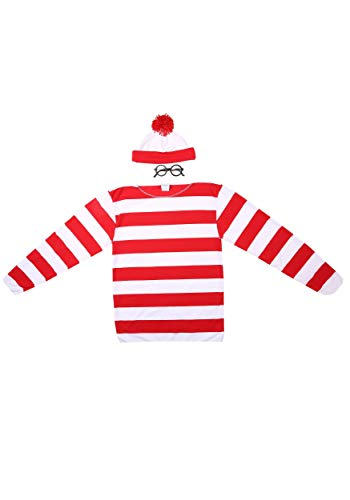 elope Where's Waldo Adult Costume Kit, Red/White, Large/X-Large - coolthings.us