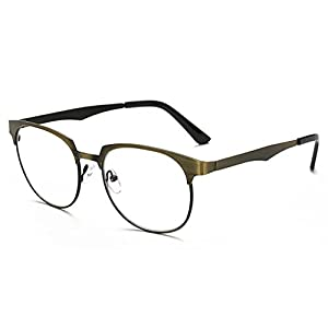 Rnow New Anti-Glare Anti-Blue Rays Sunglasses Brushed Metal Square Blue Tinted Lens Computer Gaming Eyeglasses
