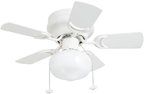 Prominence Home 41530-01 Hero 28 Hugger Small Ceiling Fan, LED Schoolhouse Globe, Glossy White