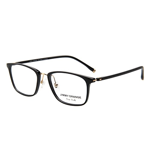 [Jimmy Orange Fashion TR-90 Rectangular Frame Clear Lens Women Men EyeGlasses JO517 Black] (Prescription Colored Contact Lenses)