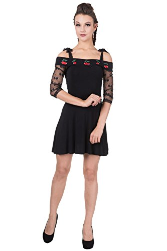Banned - Robe - Patineuse - Femme noir noir/rouge 36