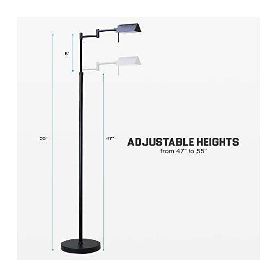 O'Bright Dimmable LED Pharmacy Floor Lamp, 12W LED, All Range Dimming, 360° Swing Arms, Adjustable Heights, Standing… - ✔️ ETL LISTED – O'Bright LED pharmacy floor lamp passes ETL Safety Standard Test and has ETL certification. ETL safety standard ensures you a safe product for daily use. ✔️ SUPER BRIGHT LED / ENERGY SAVER – The end-table floor lamp is built-in high efficient 10 Watts LEDs with approximately 50,000 hrs lifespan. You will never need to worry about replacing the light bulbs. The LEDs deliver Max.1050 Lumens of brightness (equal to 75W incandescent bulbs) which with ONLY 10 Watts power consumption, which saves you up to 80% of electricity bill, compared to halogen and incandescent lighting. ✔️ DIMMABLE / MEMORY FUNCTION - The LED reading lamp is built-in a smart dimmer switch with all range dimming and memory setting functions. Simply long press on the switch button to adjust the brightness and release the button when the light changes to your desired light level. You may dim the light to a soft setting for mood light or reading. Or, you can also change it to a high-level setting when you need a brighter light for craft works or sewing. The dimmer will always memorize your setting. - living-room-decor, living-room, floor-lamps - 31QLL0qfZ%2BL. SS570  -