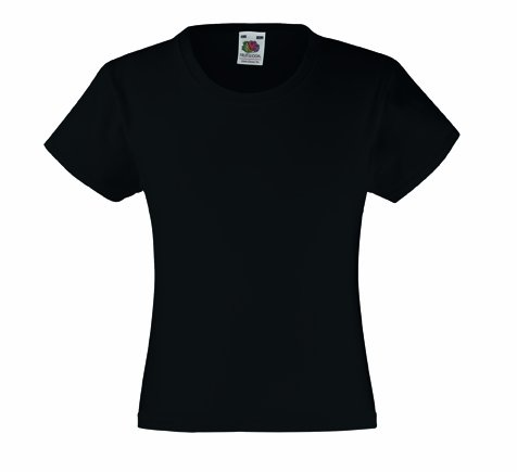 Mädchen T-Shirt Girls Kinder Shirt - Shirtarena Bündel 128,Schwarz