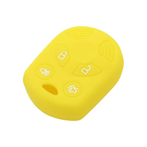 SEGADEN Silicone Cover Protector Case Skin Jacket fit for FORD LINCOLN MERCURY MAZDA 4 Button Remote Key Case Fob OUCD6000022 CV2704 Yellow