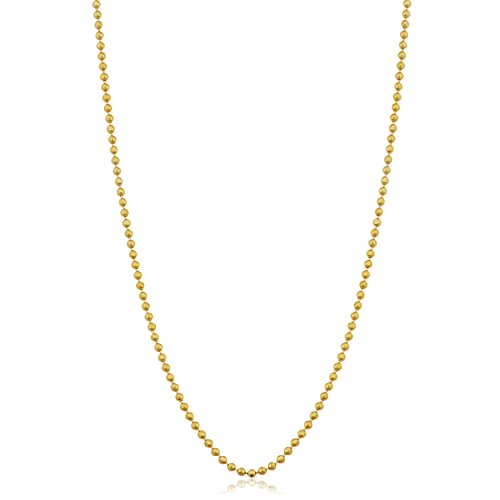 Kooljewelry 14k Yellow Gold 1 mm Diamond-Cut Bead Ball Chain Necklace (18 inch)