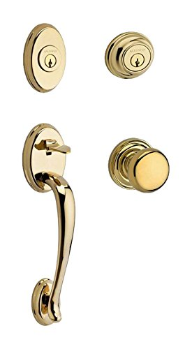 Traditional Brass Finish - Baldwin DCCOLXROUTRR003 Reserve Double Cylinder Handleset Columbus x Round with Traditional Round Rose, Lifetime Brass Finish