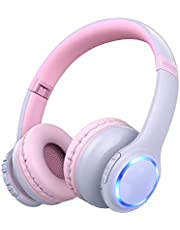 Kids Headphones, Bluetooth Wireless Headphone, Mpow CH9 Over Ear Headset, Foldable Adjustable Earphone, 85dB Volume Limited, 3.5mm Jack, Built-in Mic, LED Light for Children Girls Boys Teens Toddlers