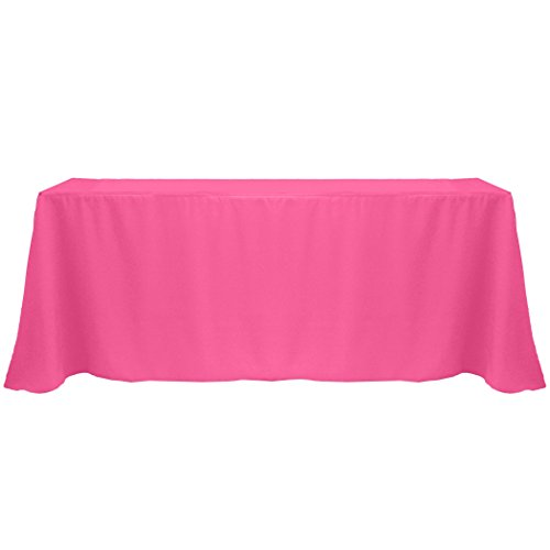 Ultimate Textile 90 X 132 Inch Rectangular Polyester Linen Tablecloth Hot  Pink