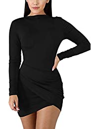 Women's Sexy Wrap Front Long Sleeve Ruched Bodycon Mini Club Dress