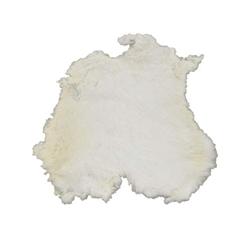 (Rabbit Fur Pelt White/Off White Genuine Leather Soft)