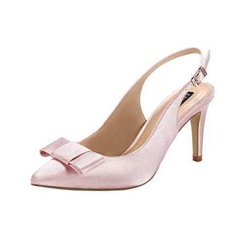 (ERIJUNOR E2415 Pointy Toe Pumps Mid Heels Wedding Evening Party Prom Slingback Satin Shoes Blush Size 9)