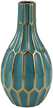 Sagebrook Home Ceramic VASE, 6.25×6.25×12, Turquoise Teal