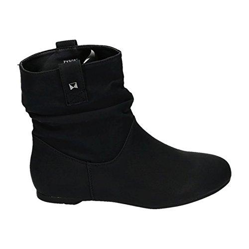 Jumex Damen Stiefeletten Stiefel Boots Flache Schlupfstiefel Schuhe 82 Schwarz