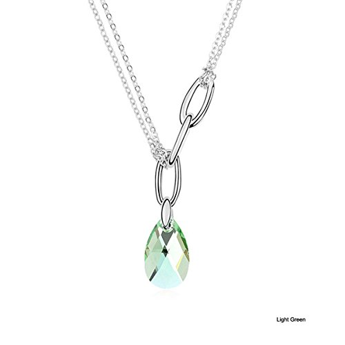 drop Austrian Crystal Pendant Necklace (Light Green) (Light Green Necklace)