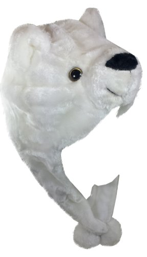 Critter Cap Plush Animal Hat with Ear Flaps That Button Under the Chin (Polar Bear)