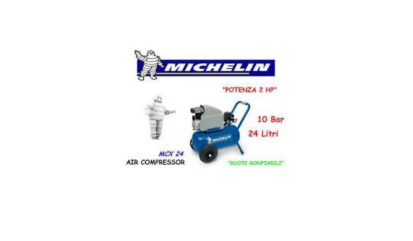 Compresor Aire Michelin 24 litros Portátil coaxial MCX 24 lubrificato 2 HP: Amazon.es: Bricolaje y herramientas