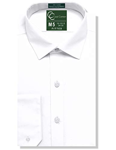 (100% Cotton Mens Fitted White Tuxedo or Dress Shirt, Spread Collar )
