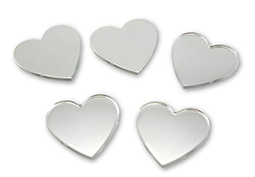 Art Cove Acrylic Small Heart Mirrors 1.5 x 1.5 Inch 5 Pieces Heart Mirror Mosaic Tiles