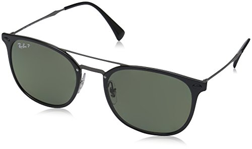 Ray-Ban Plastic Man Polarized Square Sunglasses, Black, 55 mm