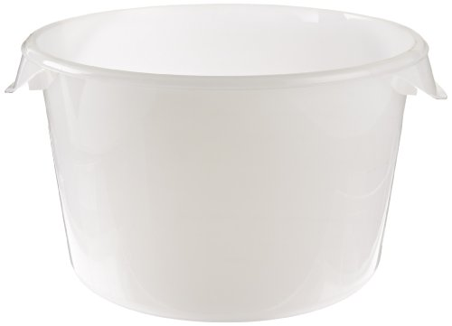 (Rubbermaid Commercial Products Plastic Round Food Storage Container for Kitchen/Food Prep/Storing, 12 Quart, White, Container Only (FG572600WHT))