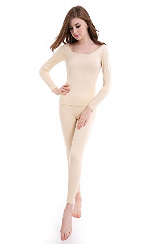 Women Long Johns Crew Neck Thermal Underwear Thin Lightweight Base Layer Set by CnlanRow (Image #2)