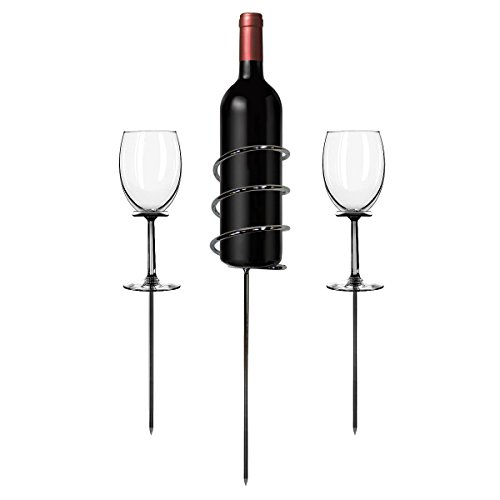 Sorbus Wine Stakes Set, Wine Sticks Holds Bottle and 2 Glasses Preventing Them from Spilling or (Stick Wine)