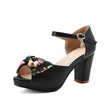LvYuan Tacón Robusto-Zapatos del club-Sandalias-Oficina y Trabajo Vestido Informal-PU-Negro Rosa Blanco Pink