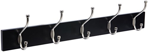 AmazonBasics Wall-Mounted Farmhouse Coat Rack, 5 Standard Hooks, Black (Coat Black Wood Rack)