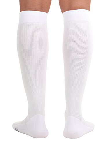 Mojo Compression Socks, Comfortable Coolmax Material for Recovery & Performance. Medical Support Socks - Firm Support, Size Large,White -Compression stockings for women & Compression socks for men by Mojo Compression socks (Image #4)