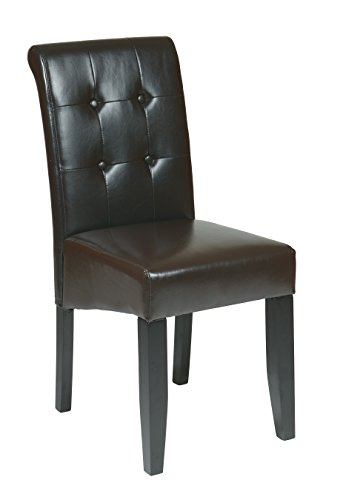 Office Star Bonded Leather Parson's Dining Chair with Espresso Finish Legs and Tufted Back, Espresso