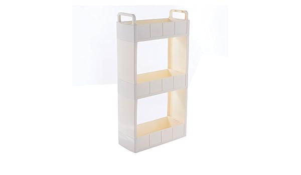WJH&ZMB Cajonera Deslizante Multiusos, Estante para el hogar, 18 cm de Ancho + asa + Rodillo, Color Blanco: Amazon.es: Hogar