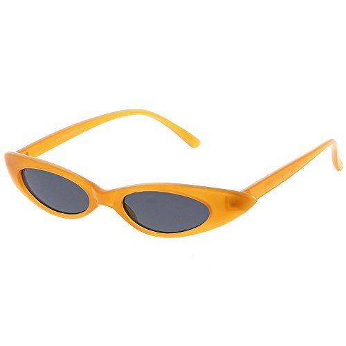 sunglassLA - Pastel Thin Extreme Oval Sunglasses Neutral Colored Oval Lens 47mm (Orange / (Oval Thin)