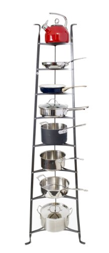 Enclume 8-Tier Cookware Stand, Free Standing Pot Rack, Hammered Steel ( Unassembled) by Enclume