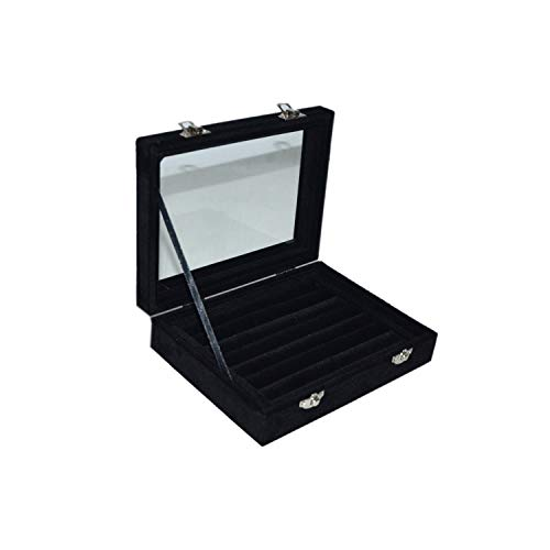 MENGCORE New Jewelry Ring Display Box Tray Holder Storage Box Organizer with Glass Cover (Black)