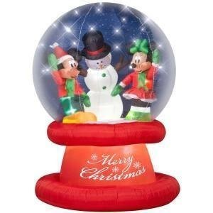 amazoncom disney mickey minnie snowman globe lightshow 6 ft christmas inflatable home kitchen