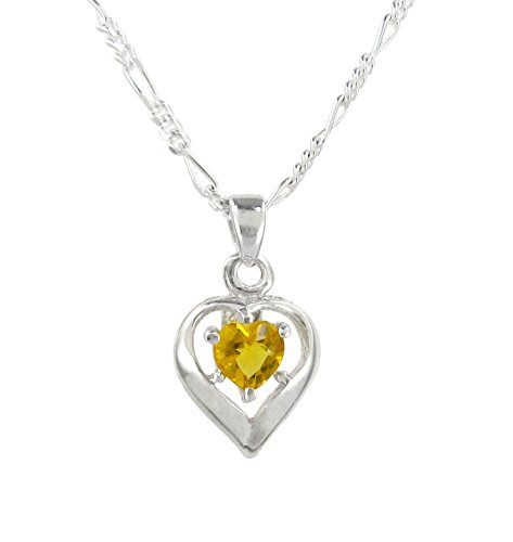 Sterling Silver Heart Solitaire Crystal Necklace, November Yellow, 16