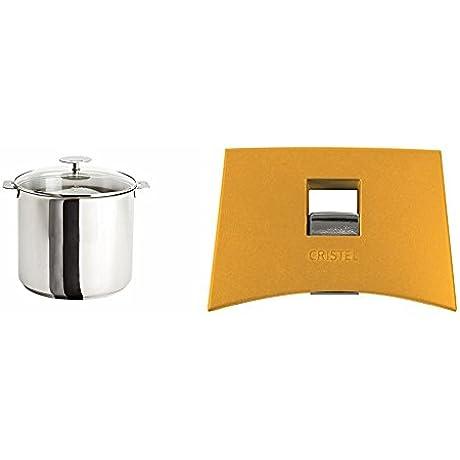 Cristel M22QKP Stockpot With Domed Glass Lid Silver 7 5 Quart With Cristel Mutine Plmaj Side Handle Yellow